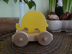 Dandelion Yellow Mini Elephant Push /Pull Toy  Birthday by JoanOrr, $18.00
