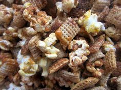 Butterscotch and Pumpkin Spice Popcorn Snack Mix...  1 tablespoon of popcorn kernels (makes about 3 cups of popcorn)  2 cup of rice Chex cereal  1 cup of pretzel sticks  1 tablespoon of sugar-free butterscotch sauce  1 teaspoon of pumpkin pie spice  Pop 1 tablespoon of popcorn kernels however you'd like.  Placed popped popcorn in large bowl. Add Chex cereal and pretzels.  Stir.  Drizzle butterscotch in bowl all over snack mix.  Sprinkle pumpkin pie spice evenly over