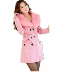 Women Double-Breasted Winter Coat Pink  With Fur Collar