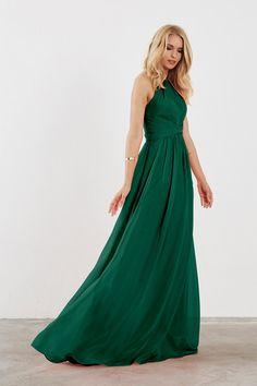 Dove & Dahlia Diana Bridesmaid Dress in Emerald Green in Chiffon