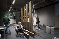 Setting up The Refusal of Time by William Kentridge at EMMA.