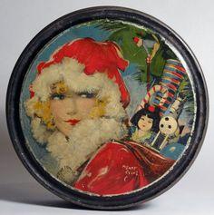 Vtg 1920's Canco Cookie Tin Box w Henry Clive Christmas Litho w Geisha Doll   eBay