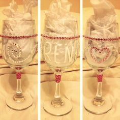 Another original hand painted wine glass. For more formal events
