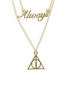 """Check it out Potter Heads! Details about Harry Potter 2 Tier """"Always"""" Goldtone Double Necklace Lovely Bijoux Harry Potter, Harry Potter Necklace, Harry Potter Sad, Always Harry Potter, Harry Potter Items, Harry Potter Outfits, Harry Potter Birthday, Harry Potter Universal, Hot Topic Harry Potter"""