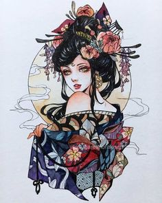 Margaret Morales is a visual designer, painter and watercolor artist from Philippines. Geisha Tattoos, Geisha Tattoo Design, Art And Illustration, Art Illustrations, Geisha Kunst, Geisha Art, Geisha Makeup, Japanese Tattoo Designs, Japanese Tattoo Art