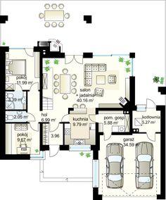 Projekt domu Kaskada N 159.41 m² - Domowe Klimaty Dream House Plans, Modern House Plans, Huge Kitchen, Roof Covering, Garage House, Home Design Plans, Civil Engineering, Cool Lighting, Detached House
