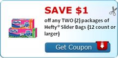 SAVE $1.00 off any TWO (2) packages of Hefty® Slider Bags (12 count or larger)