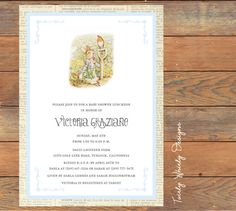 Peter Rabbit Beatrix Potter Baby Shower Invitations Printable