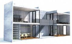 The Azuma House – Row House by architect Tadao Ando was built in Sumiyoshi, Osaka, Japan in Tadao Ando, Japanese Architecture, Interior Architecture, Casa Azuma, Koshino House, Houses Of The Holy, Casa Patio, 3d Modelle, Narrow House