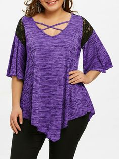 Flare Sleeve Plus Size Asymmetrical Tunic T-shirt - PURPLE 2XL