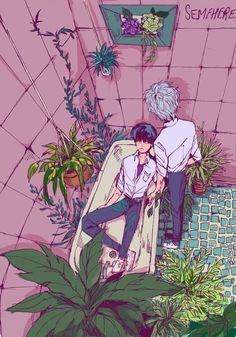 Bathtub and flora
