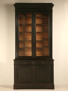 """Extraordinary 9'10"""" Ebonized Antique French Louis Philippe China/Book Cabinet"""