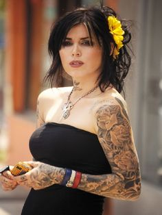 Unique Tattoo Ideas: Kat Von D Full Sleeve Tattoo From LA Link Tattoo ~ tattooeve.com Tattoo Ideas Inspiration