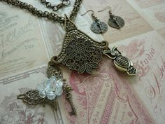 Brass Necklace Earrings Set: Floral Pendant, Butterfly with Bead Flower & Key,Owl-Rhinestone Eyes-Double Chain-Clock Key Earrings INCLUDED