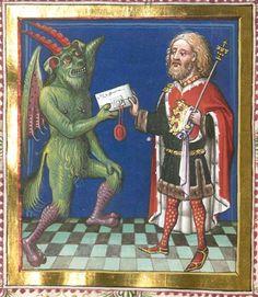 Jacobus : Jacobi de Ancharano (alias de Teramo) Litigatio Christi cum Belial, verdeutscht 1461 Cgm 48 Folio 14v
