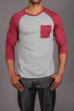 Red / grey top #MenStyle #MensFashion