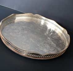 Vintage Sheffield Silver Plated Tray -Made in England -Engraved Footed Round Silverlaplated Tray Ornate Antique Scalloped Edge Tray Art Deco