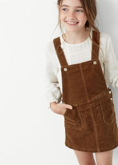 Corduroy pinafore dress -  Kids | MANGO Kids United Kingdom