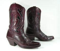 vintage cowboy boots men's 10 D burgundy by vintagecowboyboots