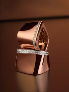 Pink gold rings with diamonds - Kult Collection by K di Kuore. kdikuore.com
