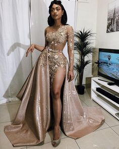 Sexy One-sleeve Appliques Mermaid Prom Dresses with Sequins Overskirt [Item Code: GB£ GB£ Prom Girl Dresses, Prom Dresses Long With Sleeves, Unique Prom Dresses, Prom Outfits, A Line Prom Dresses, Elegant Dresses, Beautiful Dresses, Evening Dresses, Glam Dresses