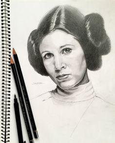 Princesa Leia. Star Wars. Clases de pintura en Las Palmas. Retratos al óleo.: Retrato a lápiz.  http://salazar-art.weebly.com/