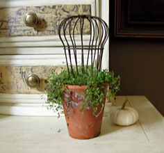 One Vintage Wire Gutter Cage / Topiary Form / by AloofNewfWhimsy