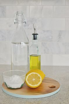 All natural cleaning using vinegar, olive oil, lemon and baking soda.