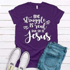 The Struggle Is Real But So Is My Jesus - 5XL / Purple