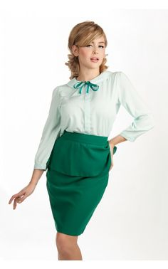 Peter Pan Blouse in Mint. Pinup Girl Clothing.