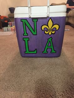 Nola Mardi Gras painted cooler