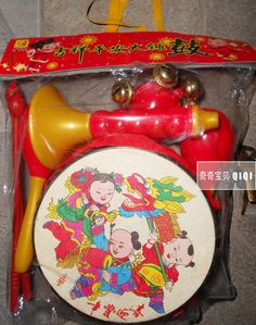 a set of 5 auspicious peace drum children toy musical instruments set infant educational early childhood 818 #transformer
