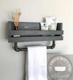 Bathroom shelf with towel bar Towel holder Bathroom towel bar Bathroom Wall Mounted Shelf Modern Industrial bathroom towel bar Rustic shelf Bathroom Towel Storage, Bathroom Towels, Bathroom Shelves, Bathroom Wall, Shelf Wall, Bathroom Ideas, Bathroom Cabinets, Bathroom Organization, Bathroom Makeovers