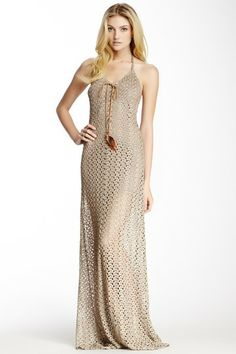 Crochet Lace-Up Halter Dress by Sky on @HauteLook