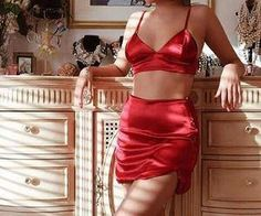 42 Popular Red Lingerie Ideas To Make You Looks Pretty And Beautiful - Fashionmoe Five Jeans, Red Aesthetic, Mode Outfits, Mode Inspiration, Mode Style, Pyjamas, Street Styles, Two Piece Skirt Set, Vogue