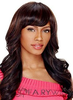 Fashionable Long Wavy  Side Bang  Wigs for Women 20 Inch