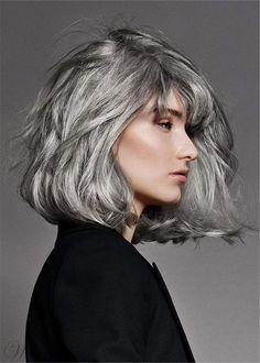 Salt and Pepper Hair Medium Bob Straight Synthetic Wig: Wigsbuy.com