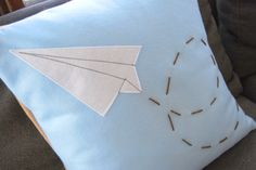 Paper Airplane Pillow  Eco Friendly by FourEyesHandmade on Etsy, $27.00