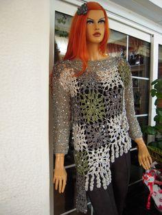 Handmade crochet top asymmetrical sparkle by GoldenYarn on Etsy, $400.00