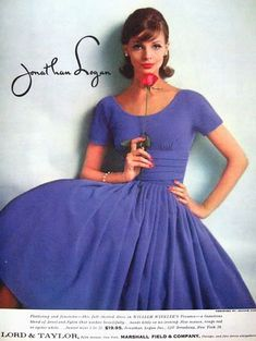 Jonathan Logan, 1959 stylish clothing line 1950s Fashion Dresses, Vintage Fashion 1950s, Vintage Dresses 50s, 1950s Dresses, Vintage Ads, Vintage Images, Retro Outfits, Stylish Outfits, Vintage Outfits