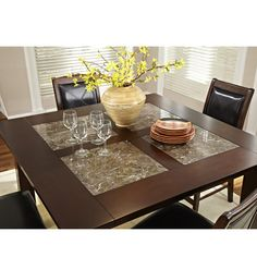 """$560 Granita 54"""" counter height dining table with granite inlays."""