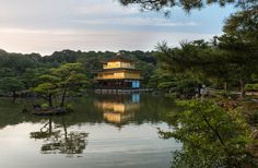 The Kinkakuji temple in Kyoto - Copyright Sami Hurmerinta. Travel Images, Kyoto, Japan, Sunset, Mansions, House Styles, Temple, Places, Japanese Dishes