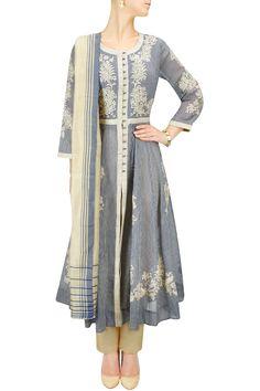 Blue and ecru striped embroidered kalidaar set BY PAYAL PRATAP.
