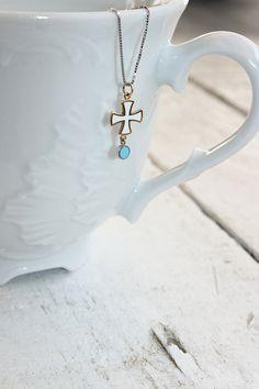 Handmade jewelry white enamel Cross with chain by DanelianJewelry