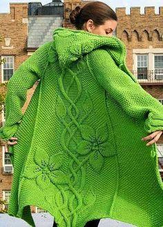 Schöner Strickmantel in Frühlingsgrün. Knitting Patterns, Crochet Patterns, Afghan Patterns, Amigurumi Patterns, Vogue Knitting, Sweater Coats, Crochet Clothes, Knitting Projects, Knitwear