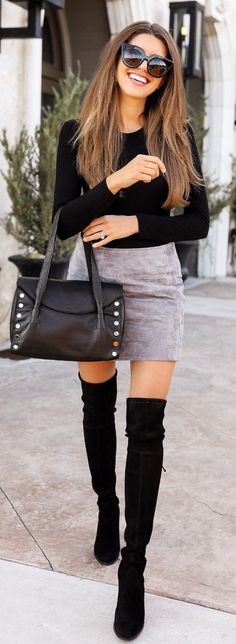 5bb02e9a49 10+ Popular Winter Outfits To Wear ASAP. Black Mini Skirt ...
