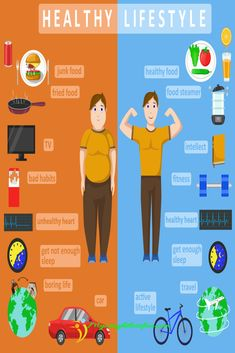 Illustration of Healthy lifestyle infographics Compare of fat and slim human body Healthy and fast food concept Color vector illustration vector art, clipart and stock vectors Image 64337413 - health-fitness Healthy Lifestyle Habits, Healthy Habits, Healthy Routines, Healthy Nutrition, Tips Fitness, Health Fitness, Health Facts, Health Tips, Health Benefits