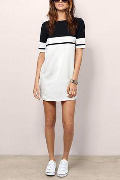 1/2+Length+Sleeves+Colorblock+Mini+Dress
