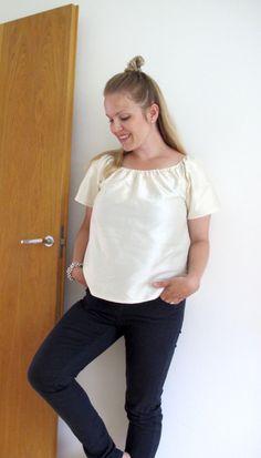 DIY Raw-silk peasant top