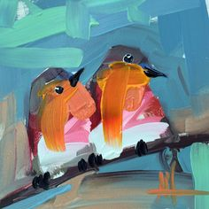 Two Robins no. 87 Original Bird Oil Painting by Angela Moulton 6 x 6 inch on Panel pre-order by prattcreekart on Etsy